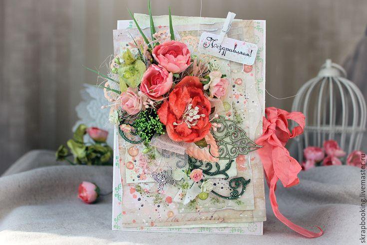 """Купить Открытка """"Коралловый букет"""" - коралловый, открытка, поздравительная, поздравительная открытка, открытка на день рождения"""
