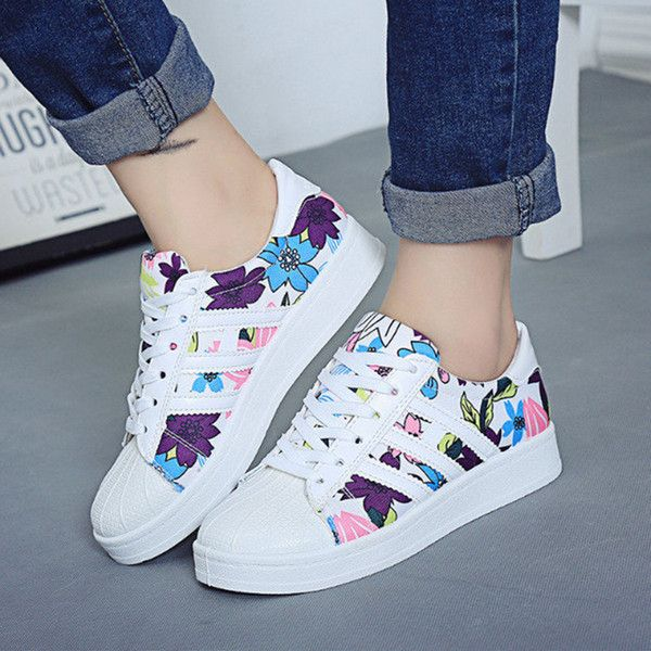 Women's Casual Sports Fun-Print Lace-Up Shoes Breathable Cozy Rubber Wearable Fashion Women Shoes are a great accessory for the Spring and Summer Autumn Canvas Shoe Running Travel Comes in Black and w
