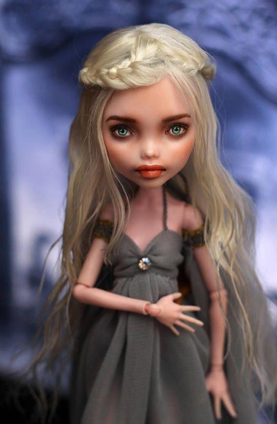 monster high custom oak repaint light blonde braided hair doll