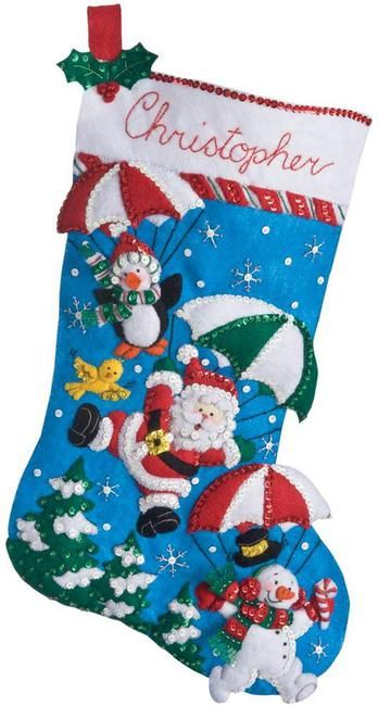 Dropping In (Santa) Christmas Stocking - Felt Applique Kit