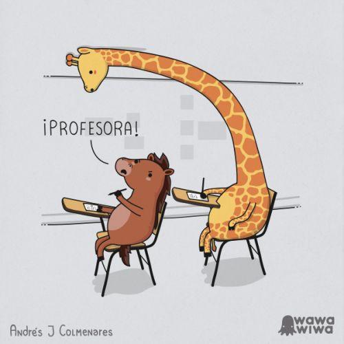 copiar   escuela   jirafa   profesora
