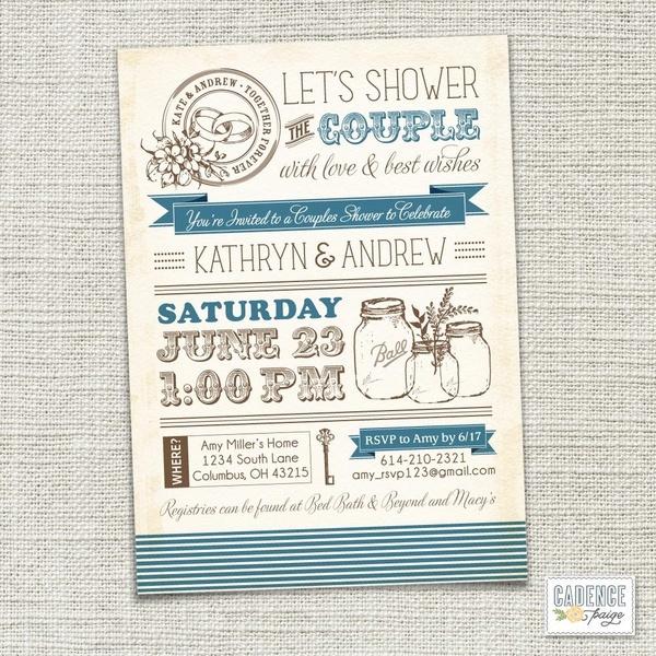Vintage Mason Jars Couples Shower Invitation Couples