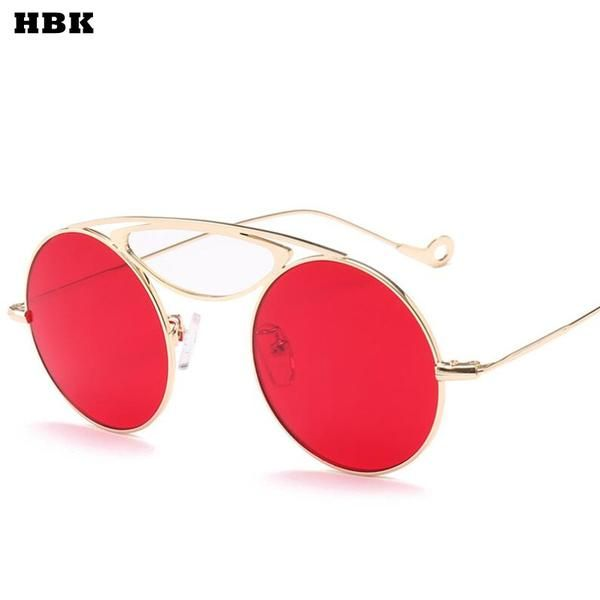 25953f15bb HBK Vintage Sunglasses Women Red Pink Yellow Candy Color Sunglass Woman  Retro Eyewear UV400 Goggles 2018 feminino