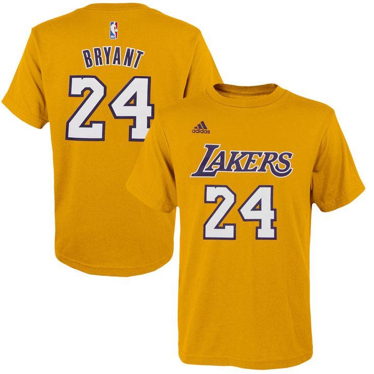 Kobe Bryant Los Angeles Lakers adidas Youth Game Time Flat Name & Number T-Shirt - Gold