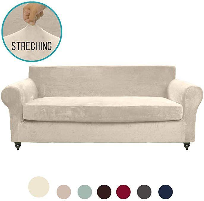 Moymo 2 Piece Stretch Velvet Sofa Slipcover High Stretch Couch Covers For 3 Cushion Couch Slipcovers For Sofas Cushions On Sofa Slipcovered Sofa Slipcovers
