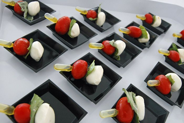8/16/2012: Many of the events during the Republican National Convention will be receptions, where networking is the focus and the food needs to be portable. One of the items Good Food Catering Company will serve is a Caprese skewer on a pipette of extra-virgin olive oil.  Photo: Courtesy of Good Food Catering Company