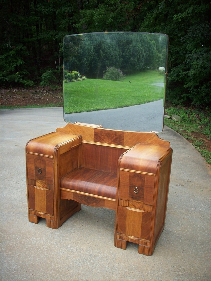 Vintage Art Deco Waterfall Antique Vanity Dressing Chest