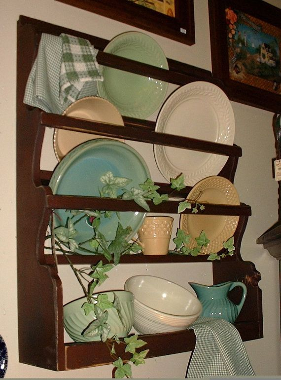 Primitive Plate Rack with Front Rails - Your Choice of Colors - FREE SHIPPING $84.99