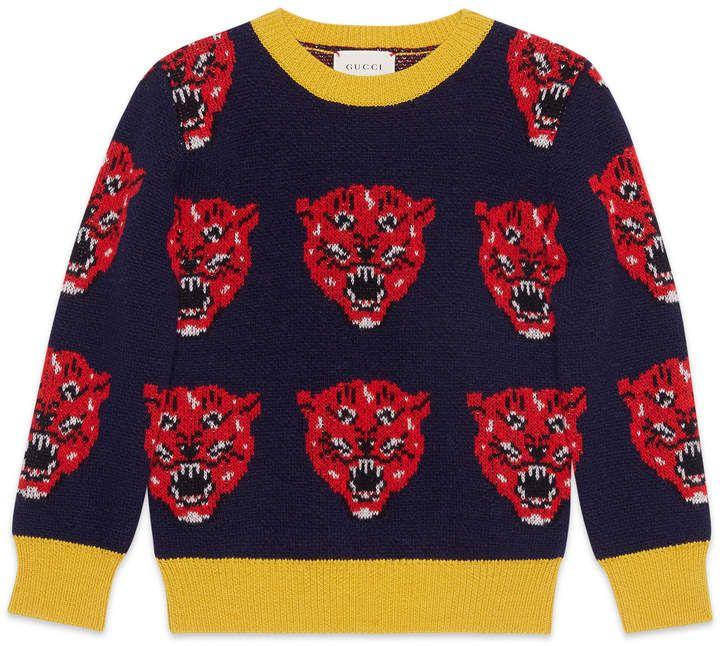 d2e275c2 Children's tiger jacquard wool knit sweater | Kids T -shirts ...