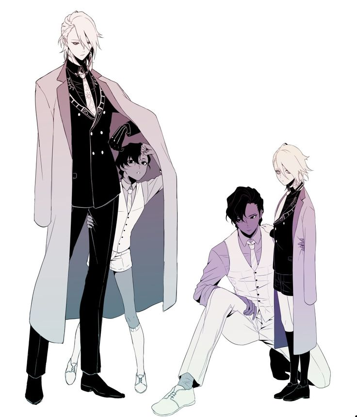 Anime Guy - Black and White Suits, Coat, and Hair
