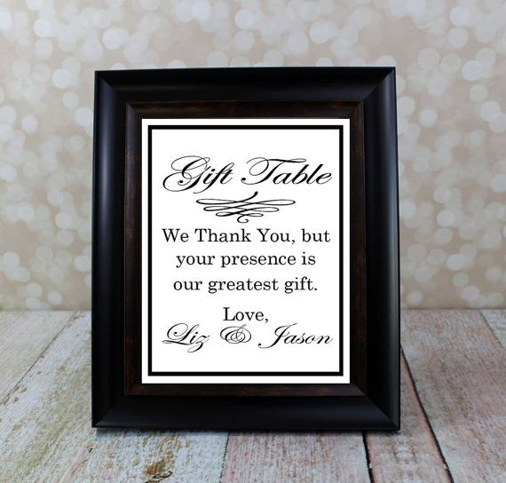 Wedding Gift Sign, Reception Table Sign, Thank You Sign from the Bride and Groom.  8 X 10 inches. Wedding Sign DIY Printable, Bridal Shower.