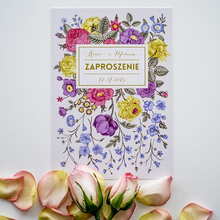 Vintage wedding stationery with floral pattern. Typography with imitation of gold. Zaproszeniaślubne w stylu vintage z kwiatowym wzorem i typografią imitującą złoto.