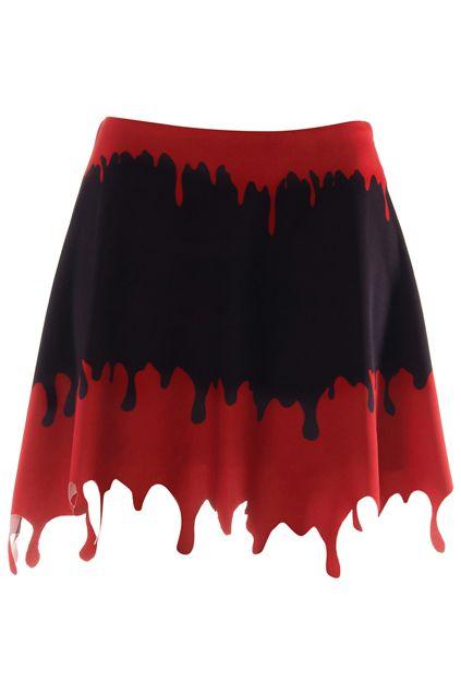 ROMWE | Dropping Blood Print Black Skirt, The Latest Street Fashion