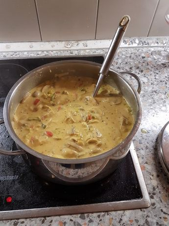 Caril de frango e sopa de alho-poró   – Suppen