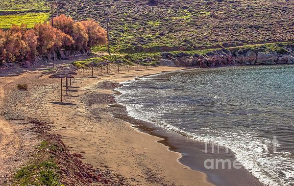 Beach in Winter named KOMITO on the Island of Syros Greece.