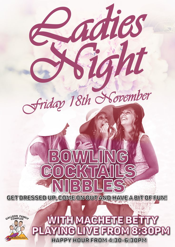 Ladies Night is on this November. So ladies, get dressed up, come on out and have a bit of fun. Grab your friends and go for a game of tenpin bowling, with cocktails and nibbles, plus Machete Betty will be playing live from 8:30pm.