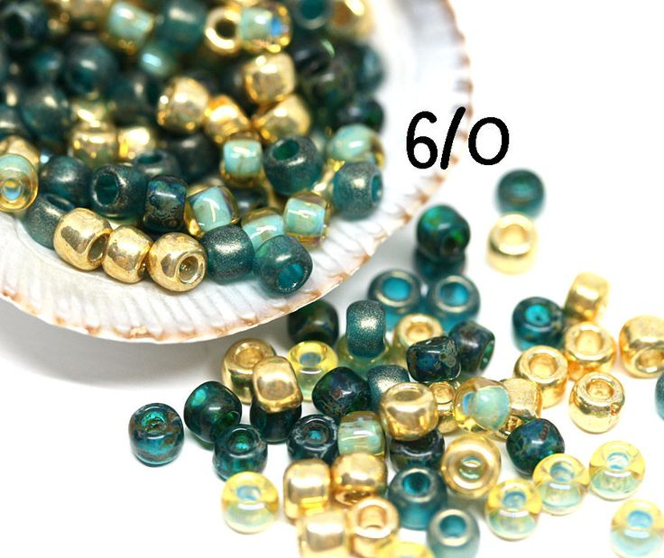 Golden Teal Toho seed beads Mix Gold Green MayaHoney Special Mix 6/0 size hybrid japanese rocaille beads - S1133 by MayaHoney on Etsy