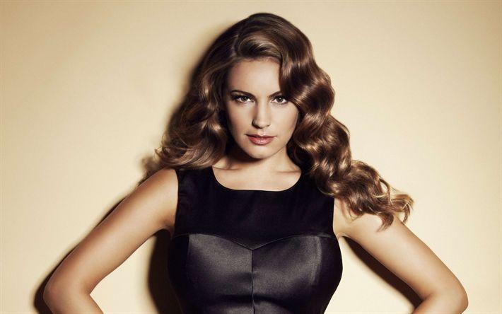 Download wallpapers Kelly Brook, 4K, British actress, portrait, fashion model, black leather dress