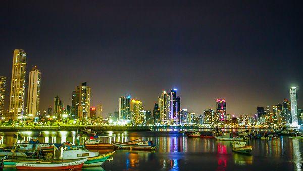 City skyline at night in Panama City
