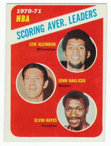 1971-72 Topps Basketball #139 NBA Scoring Average Leaders: Lew Alcindor / John Havlicek / Elvin Hayes (All HOFers) Ex: faint back wax  $7