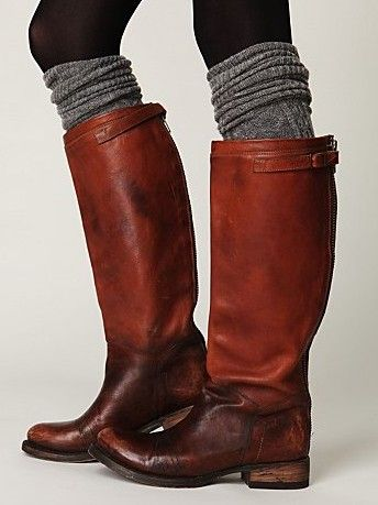 casual boots and knee socksKnee High, Legs Warmers, Tall Boots, Leather Boots, Riding Boots, Fall Boots, Boots Socks, Free People, Brown Boots