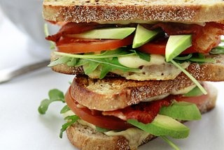 Grilled Cheese with Tomato, Avocado, Bacon, and Arugula