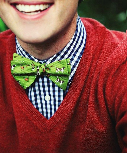The animistic Bow Tie bright green color with animal print