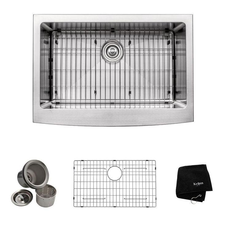 Évier de cuisine à tablier Farmhouse en acier inoxydable calibre 16 de 76,2 cm (30 po) à cuve unique