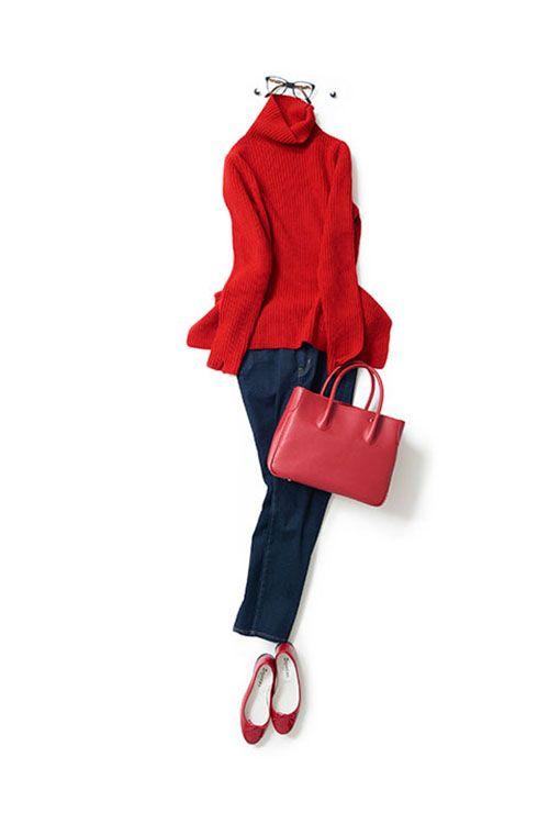 赤多めの配色でパリっぽい雰囲気 2015-09-15 | jeans price :27,000 brand : KORAL |  sweater price :37,800 brand : Fagnani | price :34,560 brand : MAXIMA / HIGH-CLASS