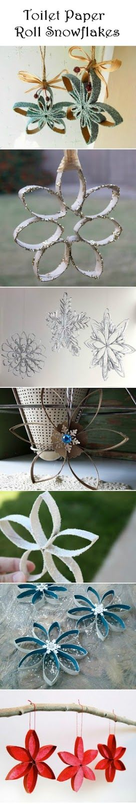 Toilet Paper Roll Snowflakes | Crafts and DIY Community                                                                                                                                                                                 Más
