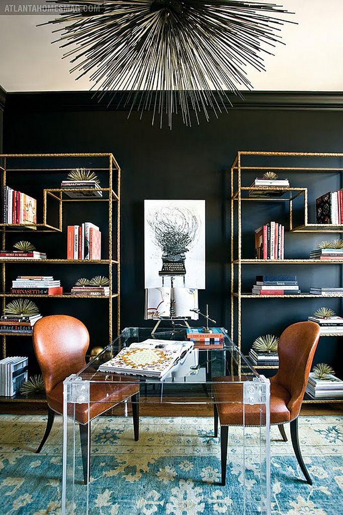 gold shelving and black walls...heart