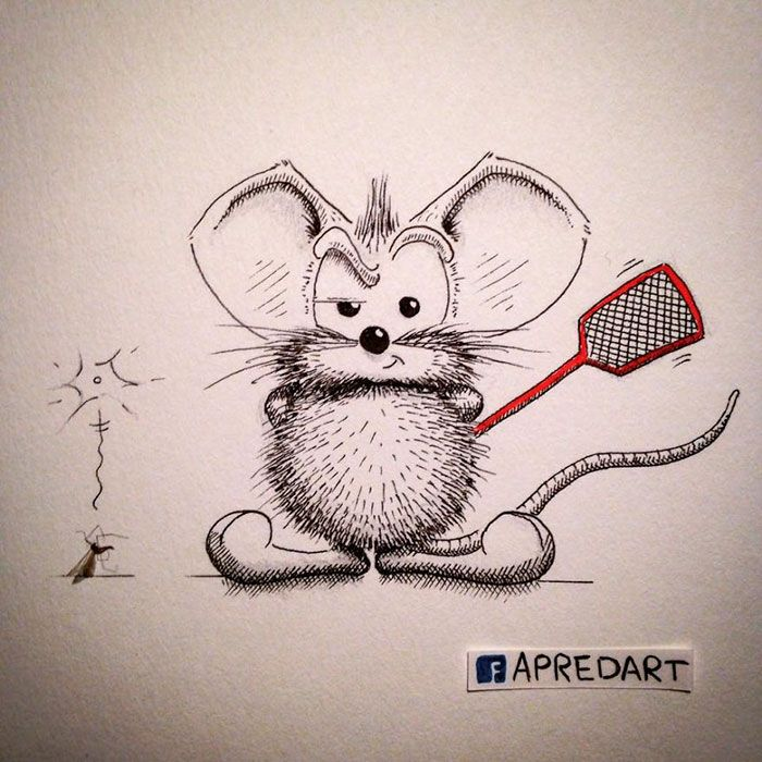 pencil-drawings-mouse-adventures-rikiki-loic-apredart-2