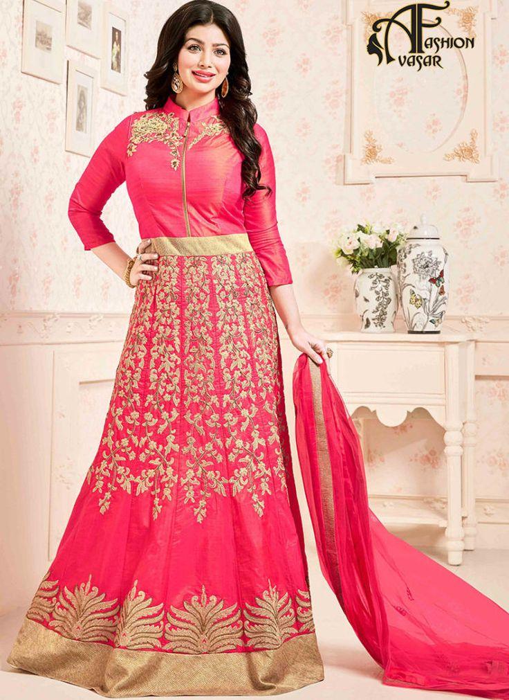 Pink salwar suit online shopping – Silk Long Anarkali buy salwar kameez online
