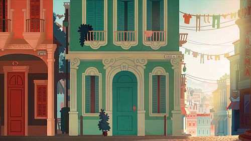 matte painting | mooe, houses, clothes, town, city, backdrop