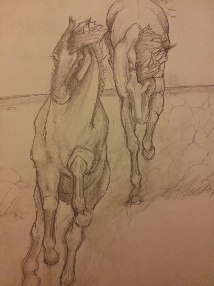 Horses in play. Pencil on paper.