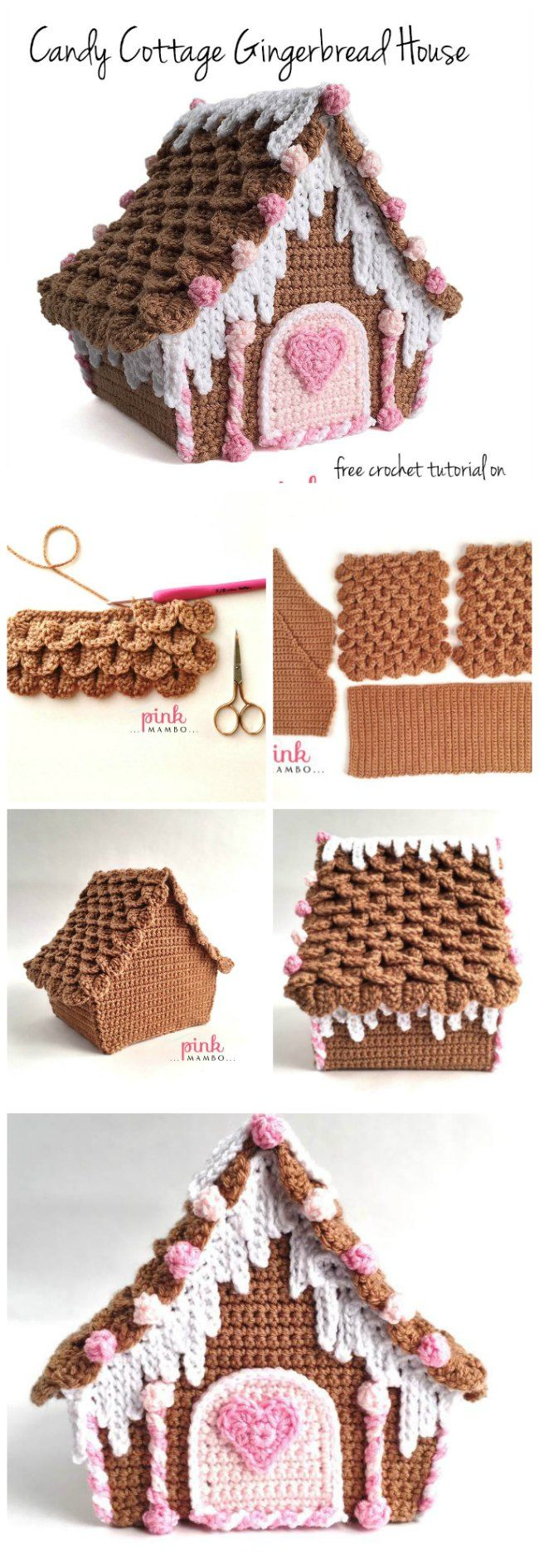 Free crochet pattern for a Candy Covered Gingerbread House. Won't add to your waistline yet looks super-yummy for Christmas and the holidays. 3 part tutorial.