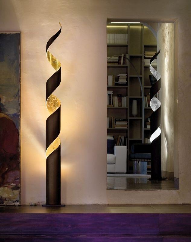 Inspirational Italienische Designer Stehleuchte Truciolo von Fratelli Braga in den Farben rost gold eisengrau