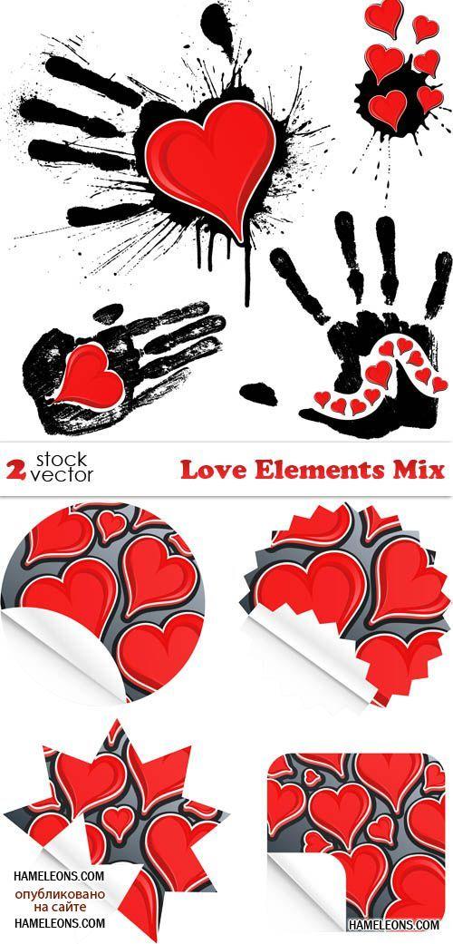 Стикеры и гранжевые отпечатки ладоней с сердечками - вектор