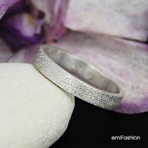 pierścionki i obrączki-White - Piaskowana obrączka '12
