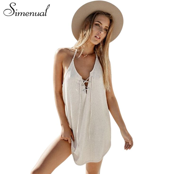 Simenual Lace up halter beach dress summer 2017 curved hem sleeveless sundresses for women sexy hot slim short party dresses
