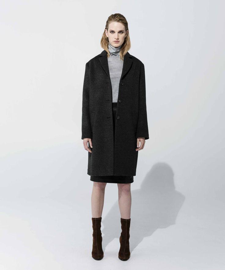 Tessa Coat - Charcoal, Wool Poloneck - Grey Marle, Leatherette Skirt - Black