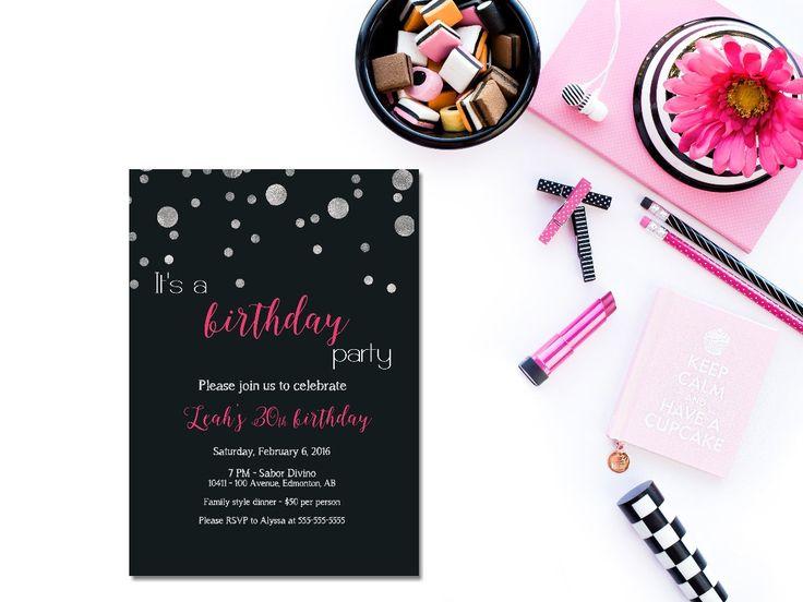 Printable 30th birthday invitation /female birthday invitation / sweet 16/ silver and pink birthday / black and pink birthday invite/ by glassslipperdesigns on Etsy