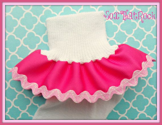 Ric Rac Trim custom girls ruffle sock. You create your own design by picking custom ribbon color & ric rac. Made to match any outfit