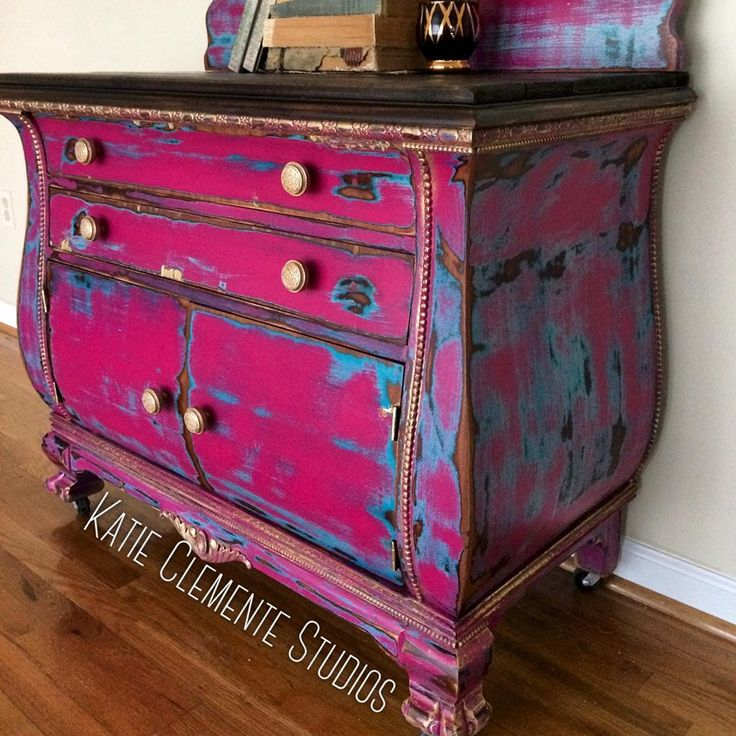 Stop what you're doing. THIS. IS. IT. The Boho chic chest everyone has been going crazy over. When I painted this, I had NO idea the amount of attention this piece would get! Being shared by multiple famous designers, getting thousands of likes, comments, and shares on Facebook, etc. and everyone asking what paint I used. WHAT IS THAT PINK COLOR?!?!! Well I mixed 2 parts Royal Purple, 3 parts Coral Crush, a splash of Corinth Blue and a tiny bit of Klein Blue Milk Paint.