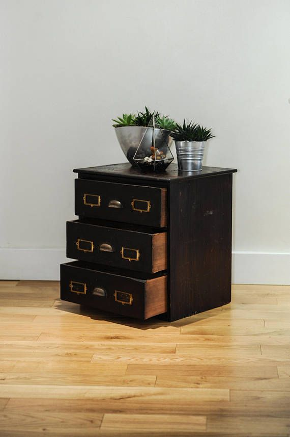 Victorian Filing Cabinet with brass handles & handmade