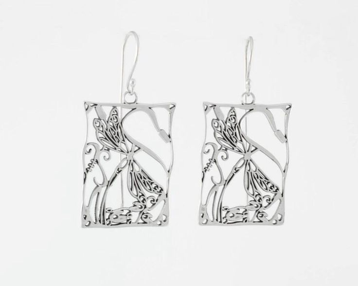 Dragonflies square earrings