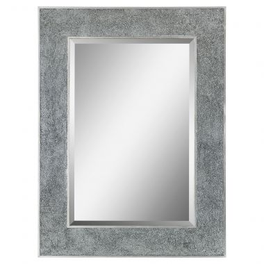 This regal mirror features a fabulous crushed glass frame that adds a truly impressive border to the rectangular bevelled center mirror.
