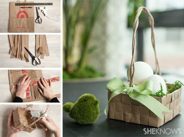 Upcycled grocery bag Easter basket