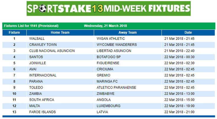#SportStake13 Midweek Fixtures - 21 March 2018  https://www.playcasino.co.za/sportstake-mid-week-fixtures.html