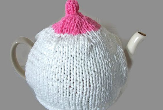 Boob Tea Cosy Hand Knitted Breast Awareness
